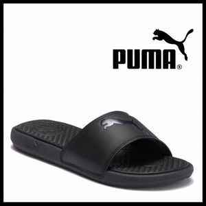 PUMA BLACK SLIDES SLIP ON FLATS SANDALS A2C